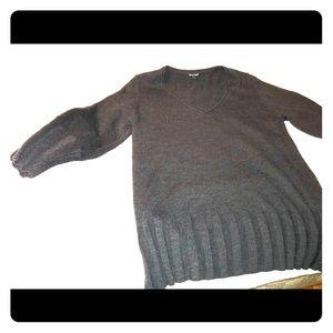 Eileen Fisher Black V-neck ribbed edge sweater